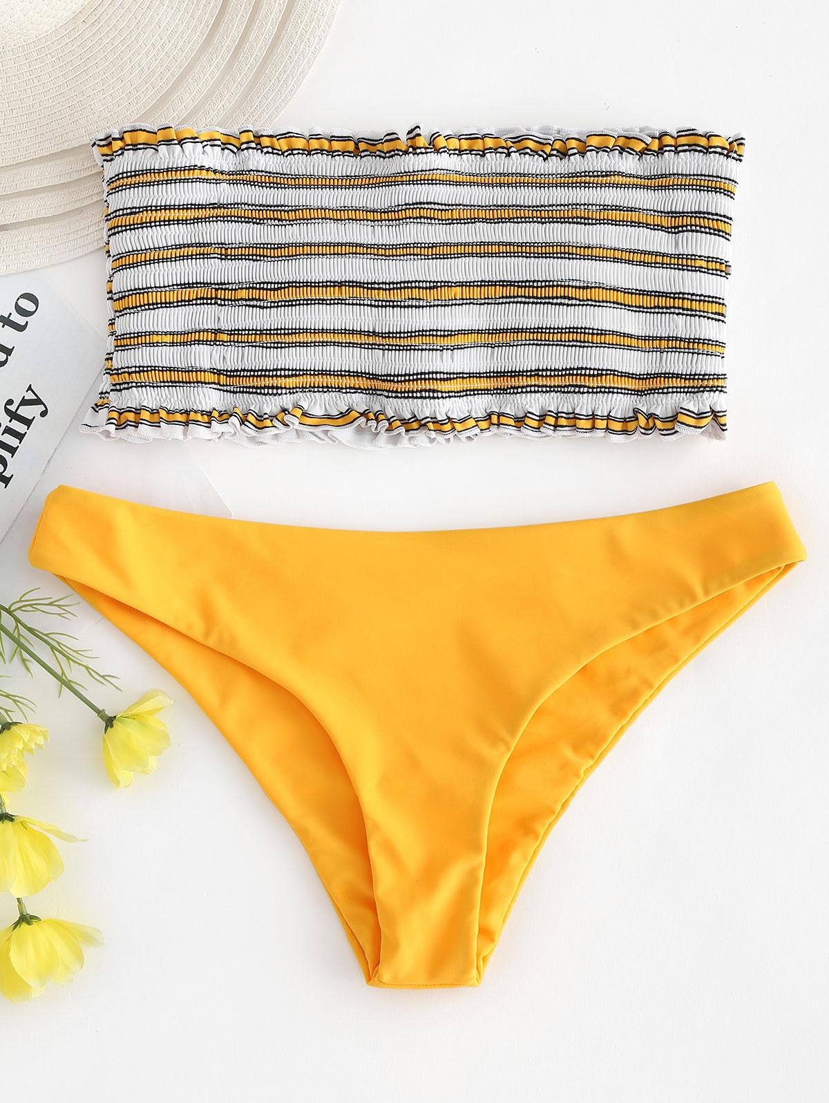 ZAFUL Stripe Smocked Bandeau Bikini Set thumbnail
