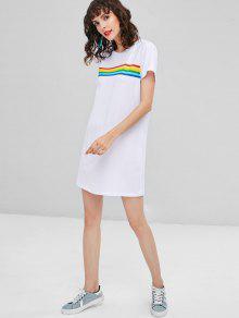 S De Blanco Vestido Colores Rayas De CqwXE1p6