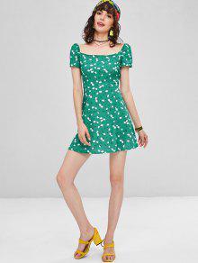 Mar Floral M Verde Mini De Cuadrado Vestido 8xzfHqnwFO