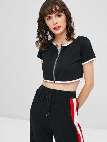 Zip Cropped T Negro shirt Xl Up Zwqr6vnZa