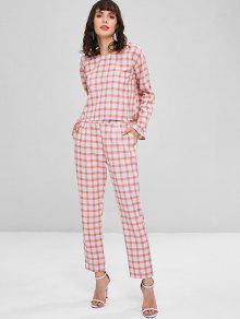 De Claro Conjunto Pantalones Rosa Cuadros Alta De Cintura S qfxw7zR