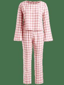 De Conjunto Alta De Pantalones Cuadros S Claro Cintura Rosa qEwpFrxEW