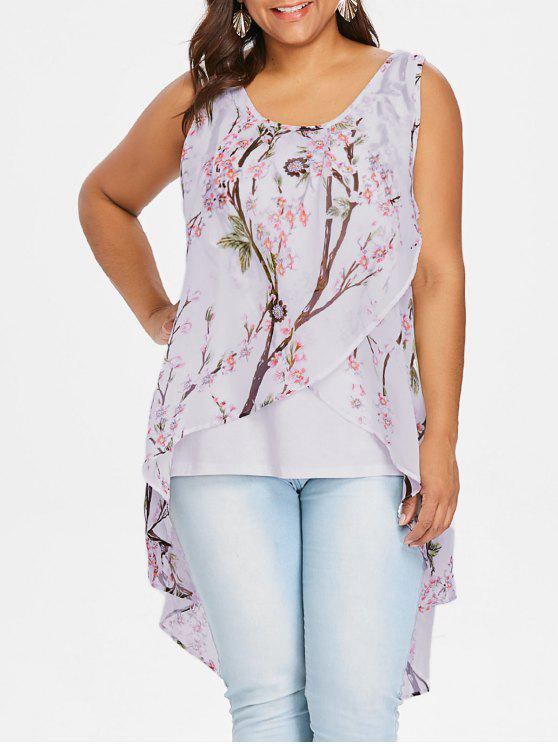 new Plus Size Tiny Floral Overlap Sleeveless Top - PINK 2XL