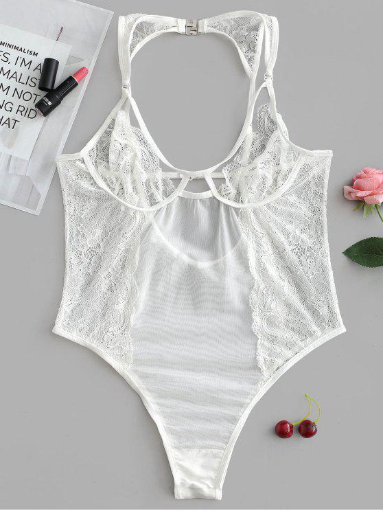 Sheer Lace Snap Crotch Teddy Lingerie Bodysuit - Branco S
