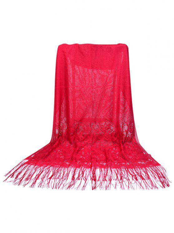 Sciarpa Elegante Di Seta In Pizzo Floreale Con Frange - Vino Rosso