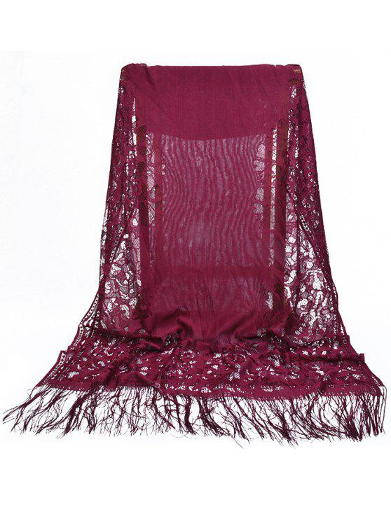 womens Vintage Hollow Out Floral Lace Long Scarf - MAROON