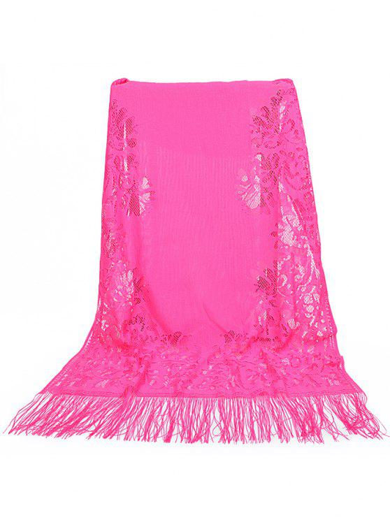 women Vintage Hollow Out Floral Lace Long Scarf - ROSE RED