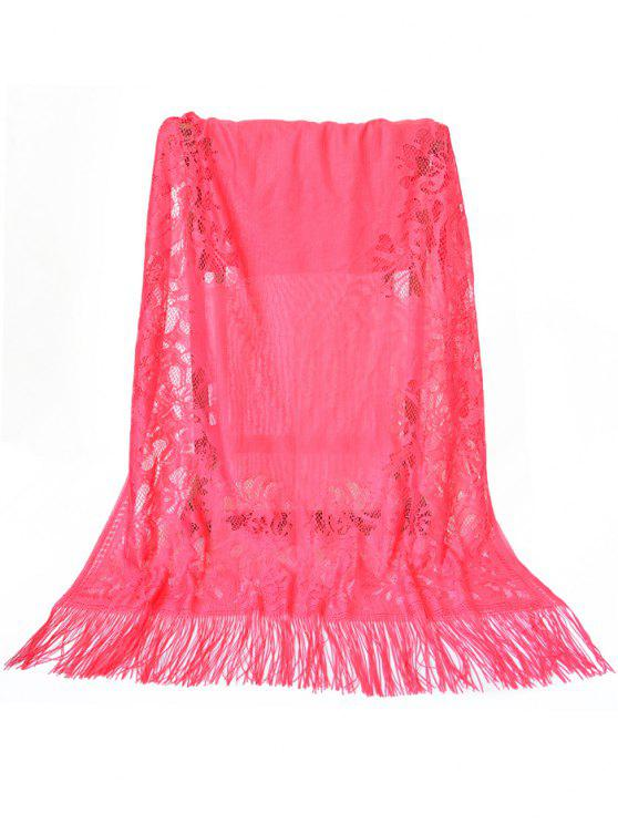 ladies Vintage Hollow Out Floral Lace Long Scarf - WATERMELON PINK