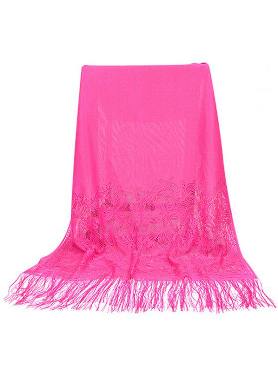 outfits Elegant Floral Lace Fringed Silky Scarf - ROSE RED