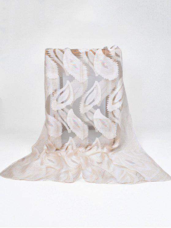 shop Feather Pattern Decorative Long Sheer Scarf - BEIGE