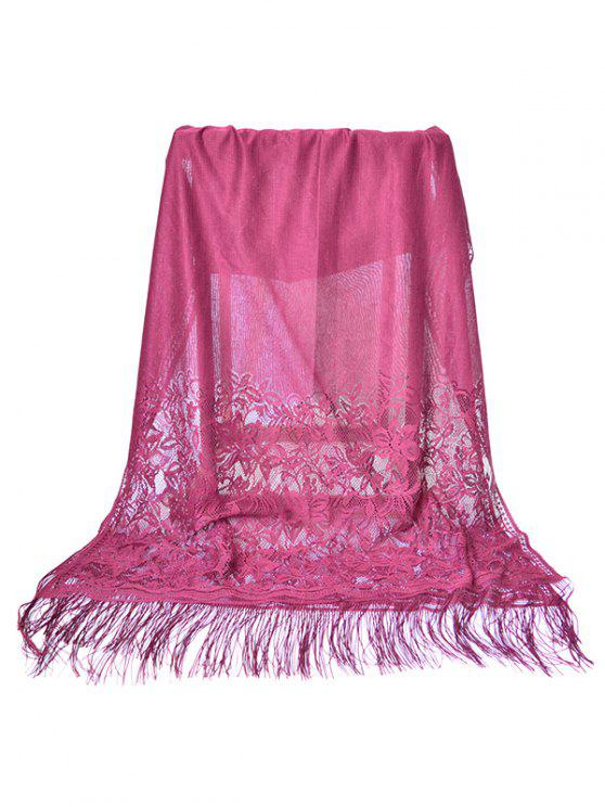 latest Elegant Floral Lace Fringed Silky Scarf - PALE VIOLET RED