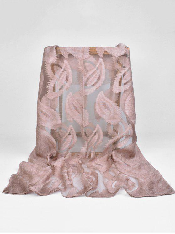 fashion Feather Pattern Decorative Long Sheer Scarf - COFFEE