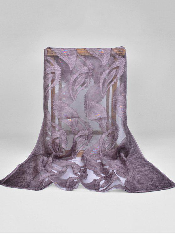 fancy Feather Pattern Decorative Long Sheer Scarf - DULL PURPLE