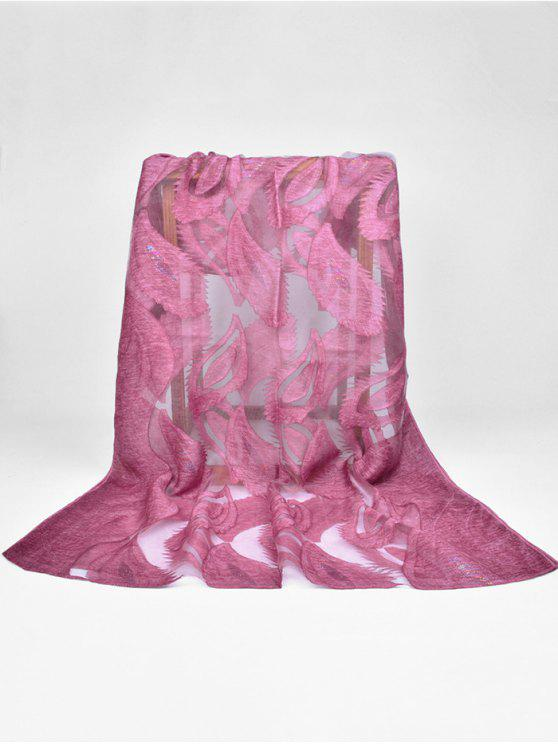 unique Feather Pattern Decorative Long Sheer Scarf - DARK ORCHID