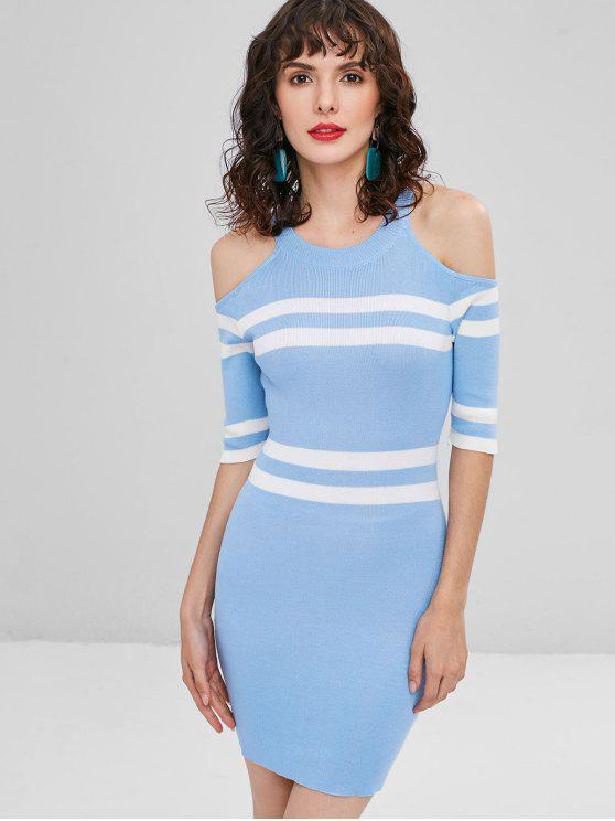 chic Stripe Bodycon Cold Shoulder Dress - LIGHT BLUE ONE SIZE