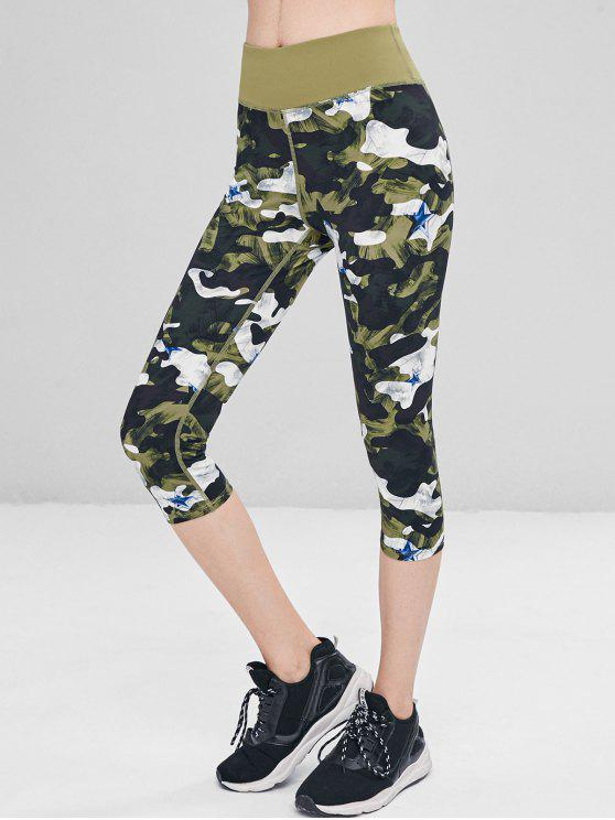 latest Camo Star Capri Leggings - JUNGLE GREEN L