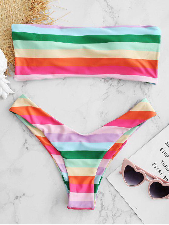 Bandeau Regenbogenfarben String Bikini Set - Multi-A S