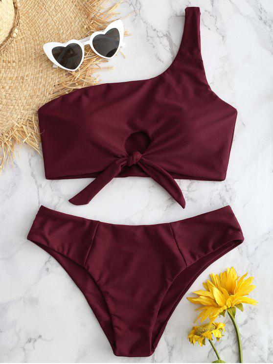 affordable One Shoulder Knotted Bikini Set - RED WINE L