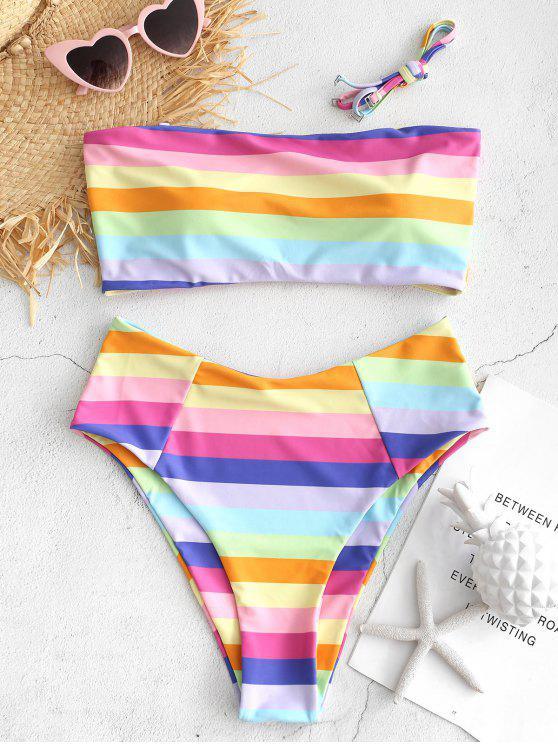 Conjunto de bikini de corte alto y colorido Bandeau - Multicolor-B S