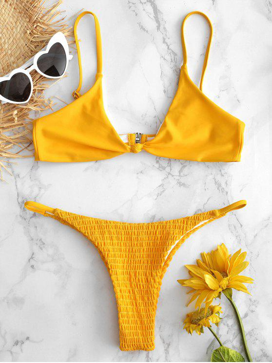 Conjunto de Biquíni Bralette com Franzido - Borracha Ducky Amarela S
