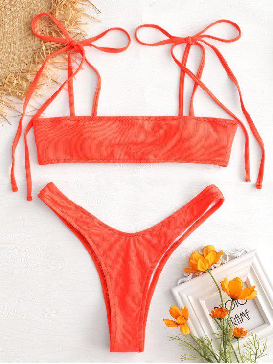 affordable Tie Shoulder Ribbed Micro Bikini Set - ORANGE M