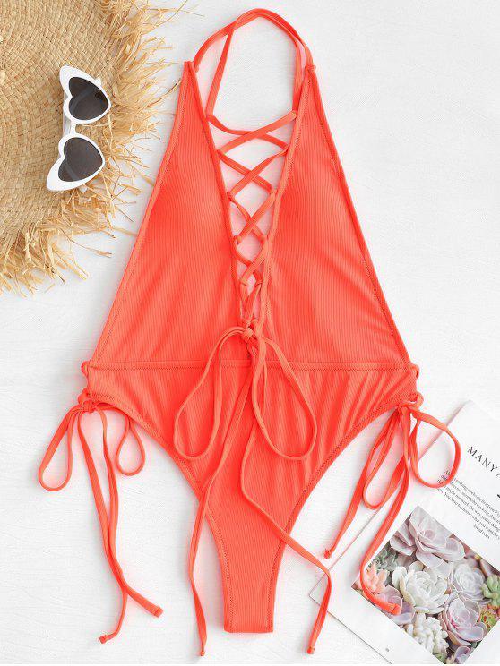 Costume Da Bagno A Costine Con Lacci - Arancio L