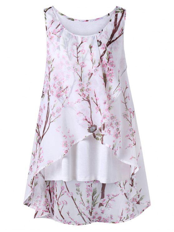 hot Plus Size Tiny Floral Overlap Sleeveless Top - PINK 3XL