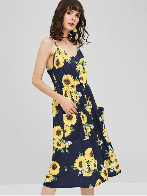 fancy Button Sunflower Print Midi Dress - DEEP BLUE S