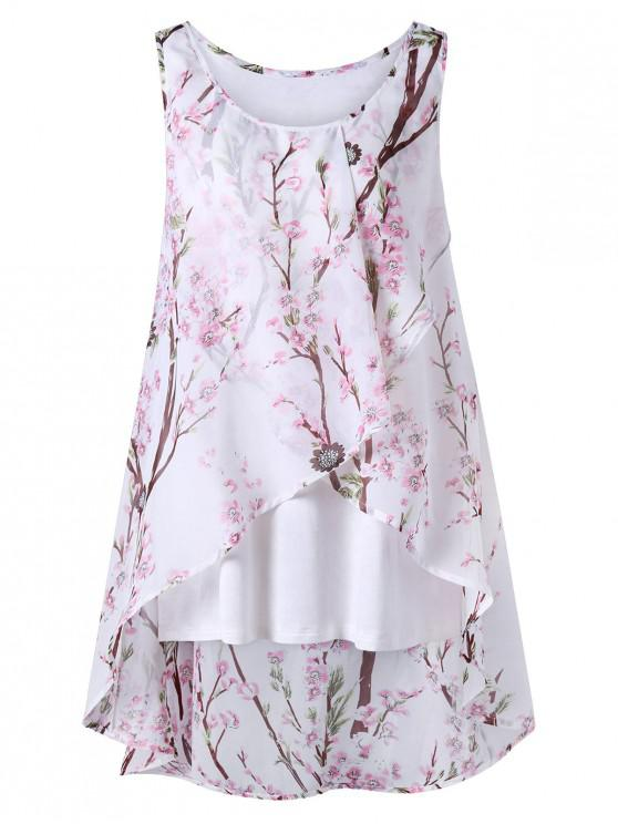 outfits Plus Size Tiny Floral Overlap Sleeveless Top - PINK 5XL