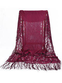 Vintage Hollow Out Floral Lace Long Scarf - Maroon