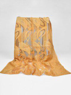 Feather Pattern Decorative Long Sheer Scarf - Macaroni And Cheese
