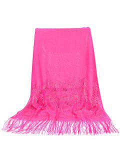 Elegant Floral Lace Fringed Silky Scarf - Rose Red