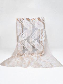 Feather Pattern Decorative Long Sheer Scarf - Beige