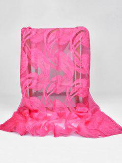 Feather Pattern Decorative Long Sheer Scarf - Rose Red