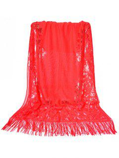 Vintage Hollow Out Floral Lace Long Scarf - Fire Engine Red