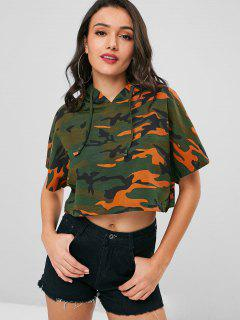 Camo Cropped Oversized Hoodie - Acu Camouflage L