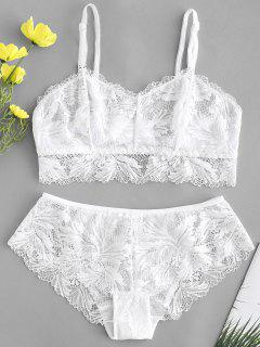 Lace Bra And Panty Lingerie Set - White 80b