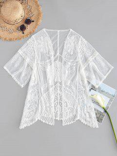 Scallop Embroidered Kimono - White