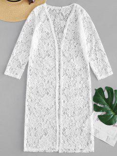 Kimono En Dentelle Florale - Blanc