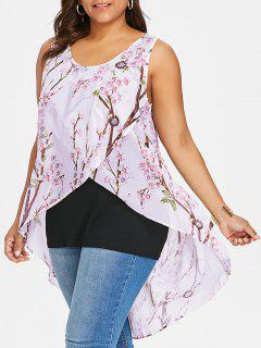 Plus Size Tiny Floral Overlap Sleeveless Top - Black 5xl