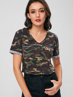 Patch Pocket Camo Crop Top - Acu Camouflage L