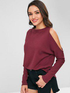 Textured Cold Shoulder Top - Red Wine L