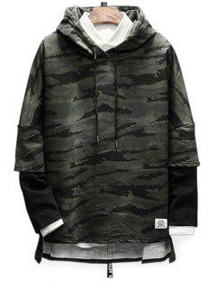 Drop Shoulder Panel Camo Hoodie - Army Green L