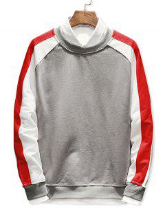 Raglan Sleeve Panel Sweatshirt - Gray M