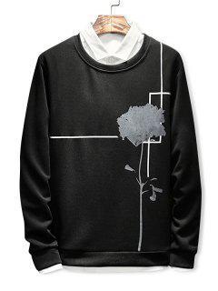 Flower Print Long Sleeve Sweatshirt - Black 2xl