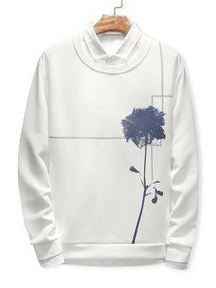 Flower Print Long Sleeve Sweatshirt - White L