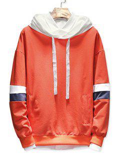 Color Block Drawstring Pockets Hoodie - Orange L