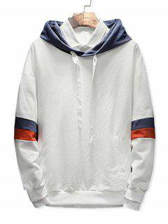 Color Block Drawstring Pockets Hoodie - White S