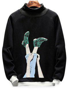 Turtle Neck Foot Print Pullover Sweatshirt - Black L