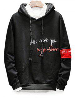 Drawstring Embroidery Letter Graphic Hoodie - Black L